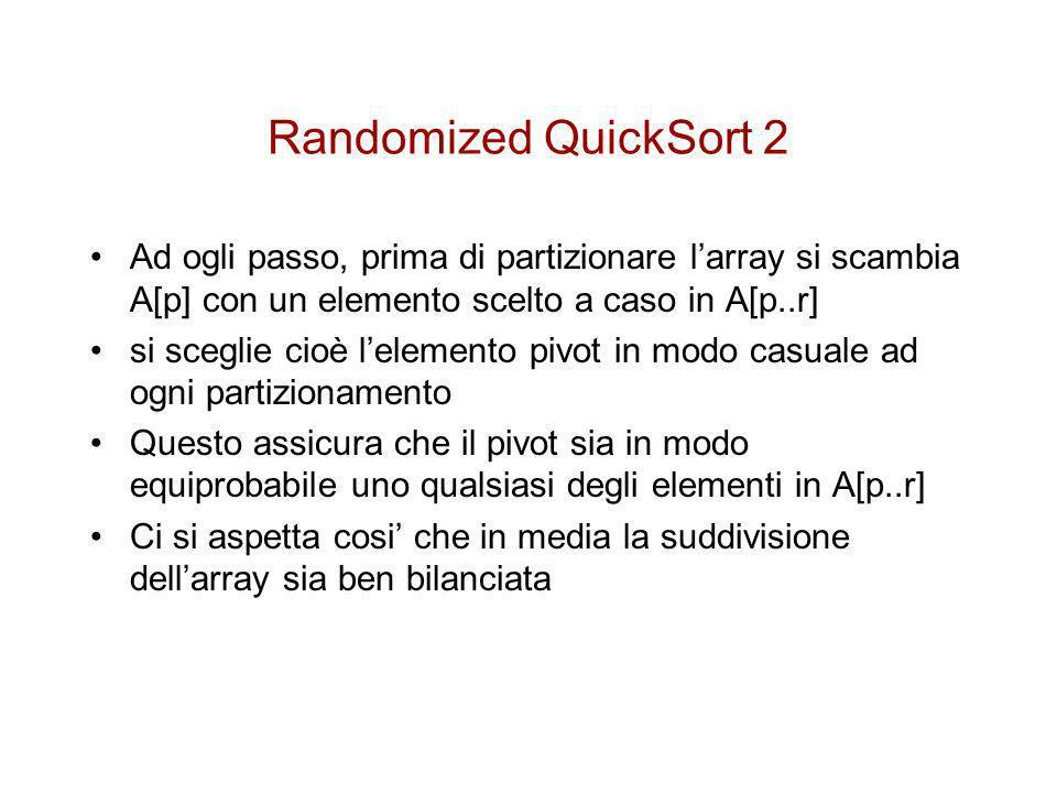 Randomized QuickSort 2 Ad ogli passo, prima di partizionare l'array si scambia A[p] con un elemento scelto a caso in A[p..r]